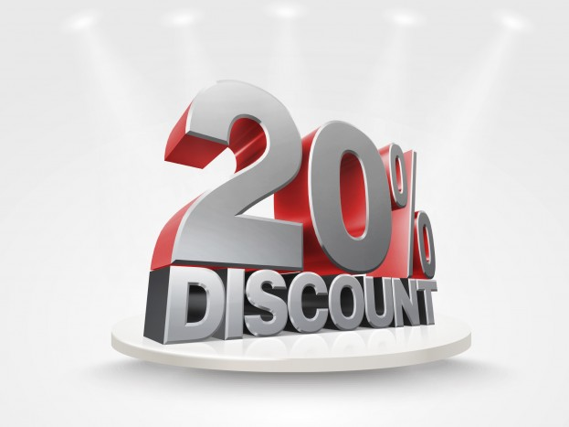 3D render silver text 20 percent discount.