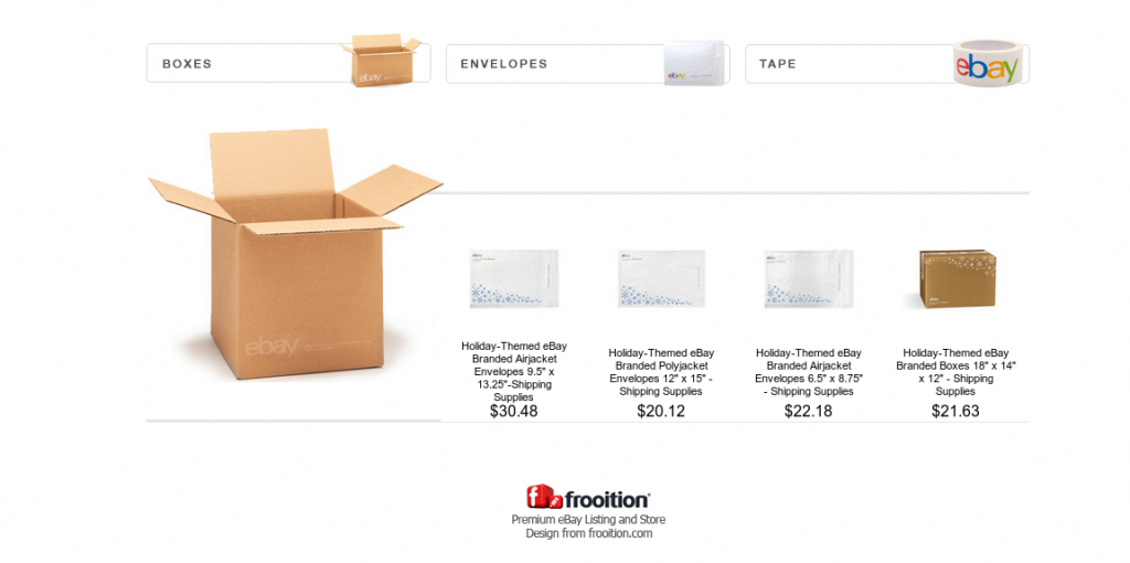 eBay shipping supplies page. Designed by Frooition.
