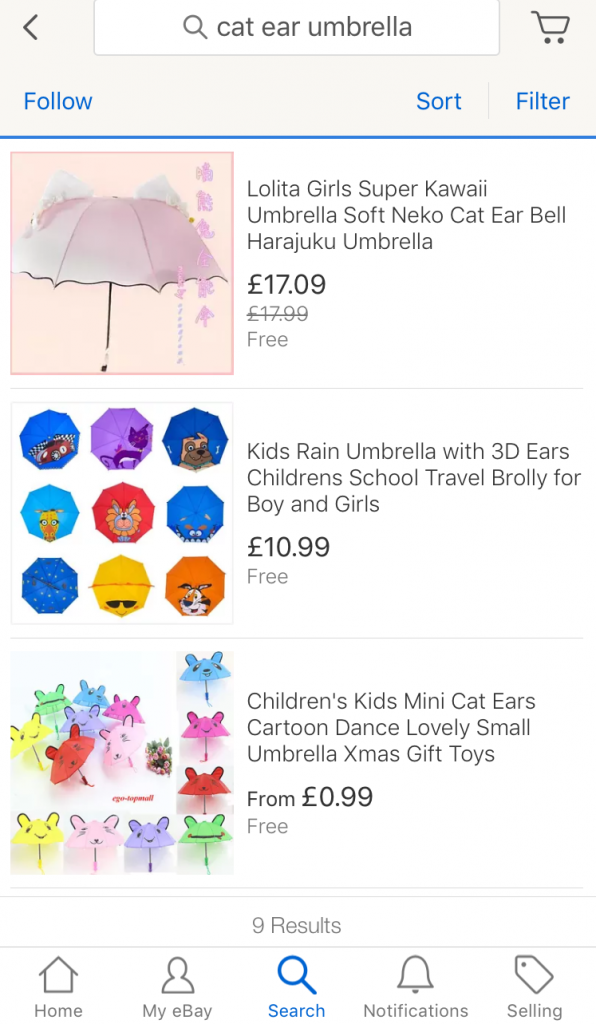 eBay app screen shot