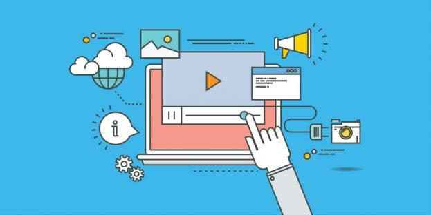 simple color line flat design of video marketing, modern vector illustration