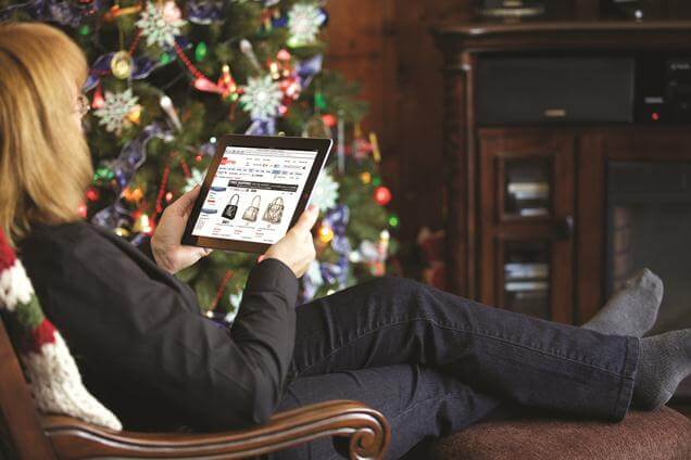 Christmas day shopping on tablet