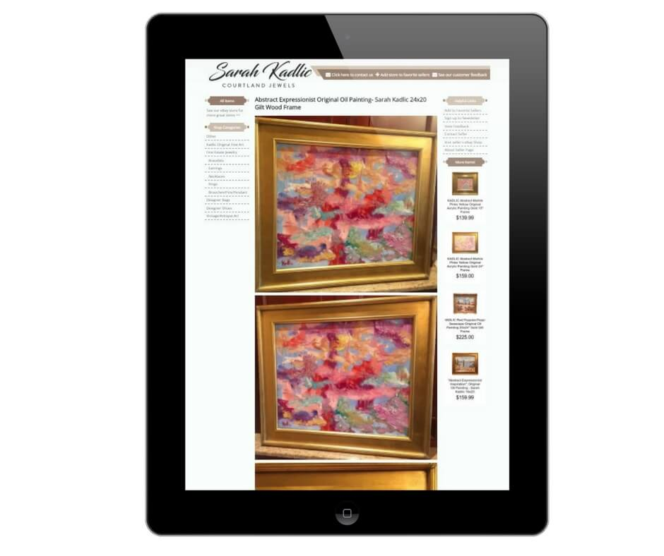 Sarah Kadlic eBay listing design on tablet