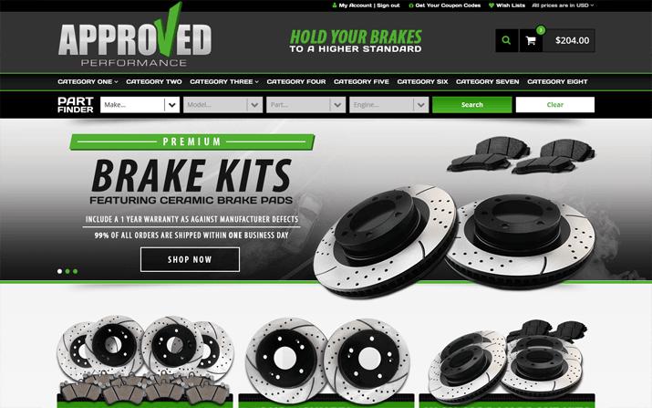 auto parts web design
