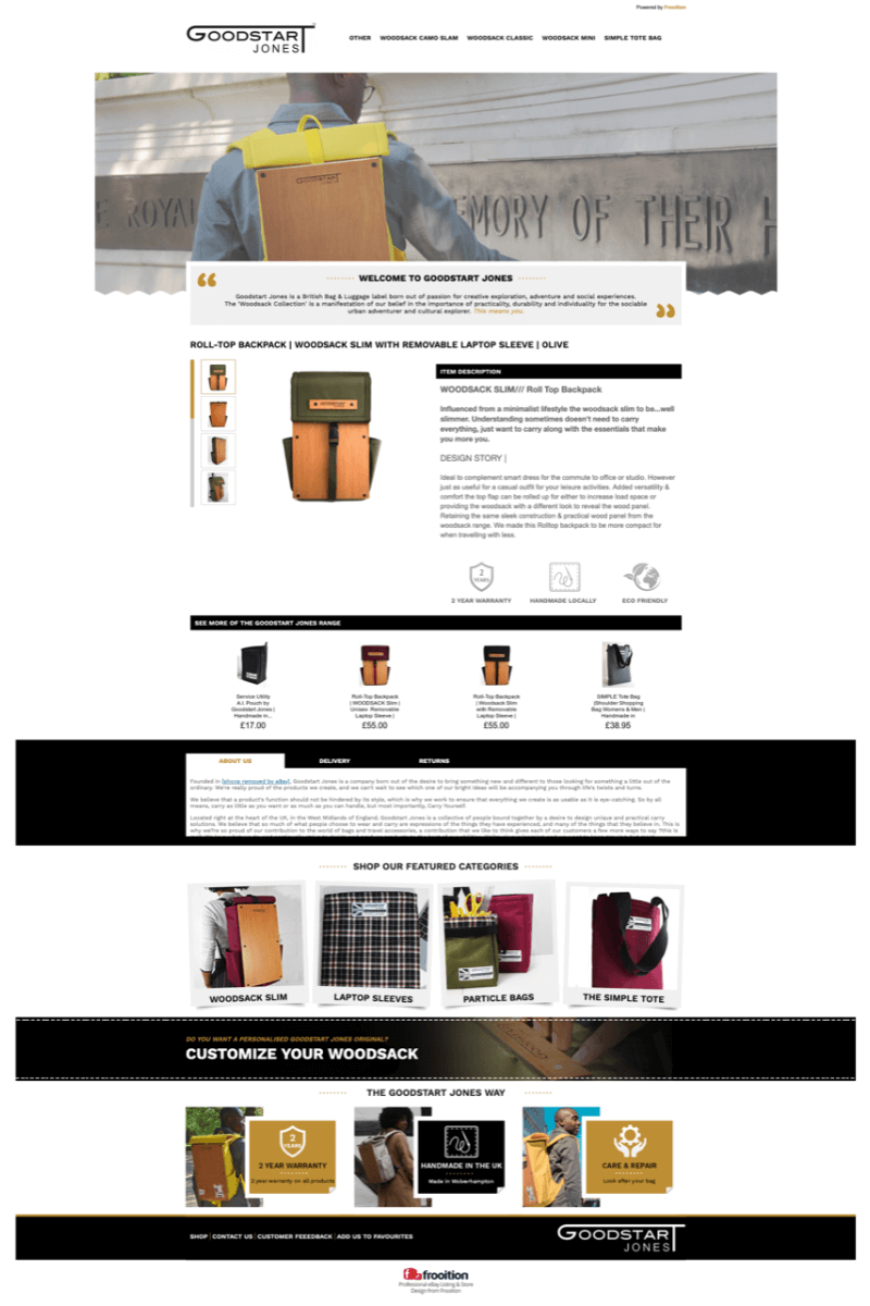 Goodstart Jones eBay listing design