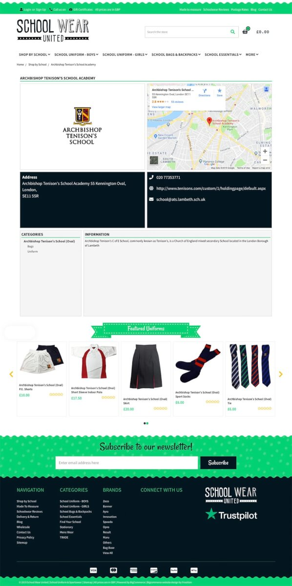 Best ecommerce site school landing page